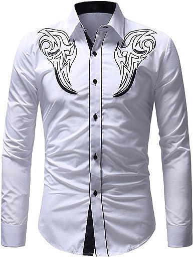 VPASS Hombre Camisas Manga Larga Casual Impresión Otoño Primavera Camisa de Moda Slim Fit Camiseta Blusa Tops Botón Shirt Negocio Diseño de Personalidad: Amazon.es: Ropa y accesorios