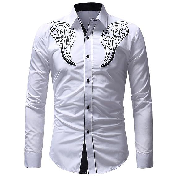 ALIKEEY Hombres Camiseta Manga Larga Bordado con Paneles Top Otoño -  Invierno Bordado Pullover Casual Hombres T - Shirt Top Blouse.  Amazon.es   Ropa y ... a607b455b3d9