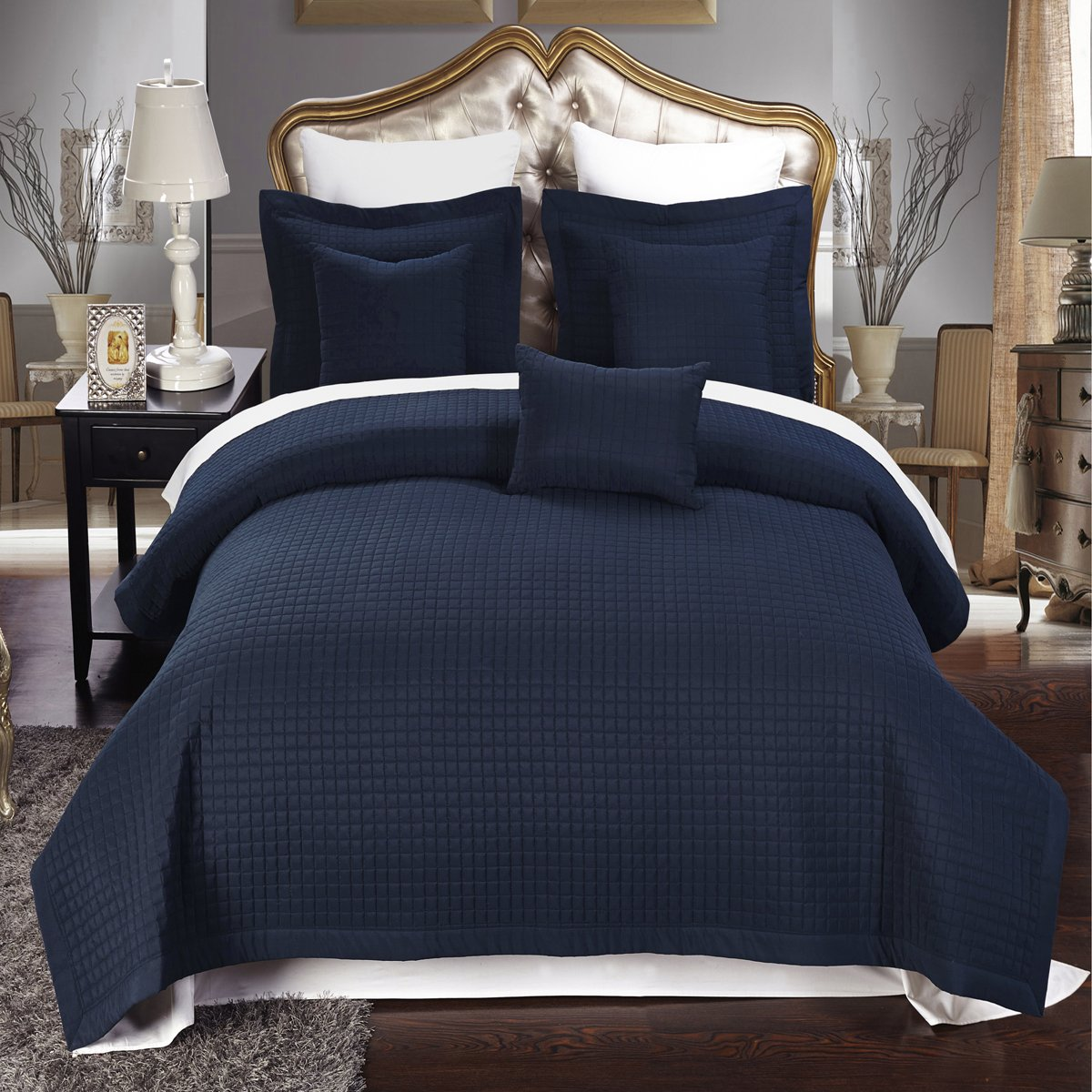 Amazon.com: Full / Queen Size Navy Coverlet 3pc Set, Luxury Microfiber  Checkered Quilt By Royal Hotel: Home U0026 Kitchen