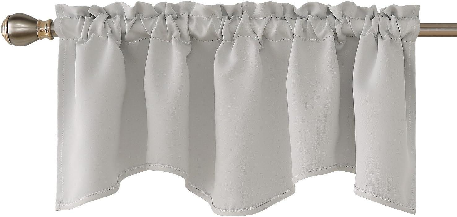 Deconovo Blackout Window Valance for Kitchen Solid Rod Pocket Scalloped Valance Short Curtain Panels 42x18 Inch Greyish White 1 Drape