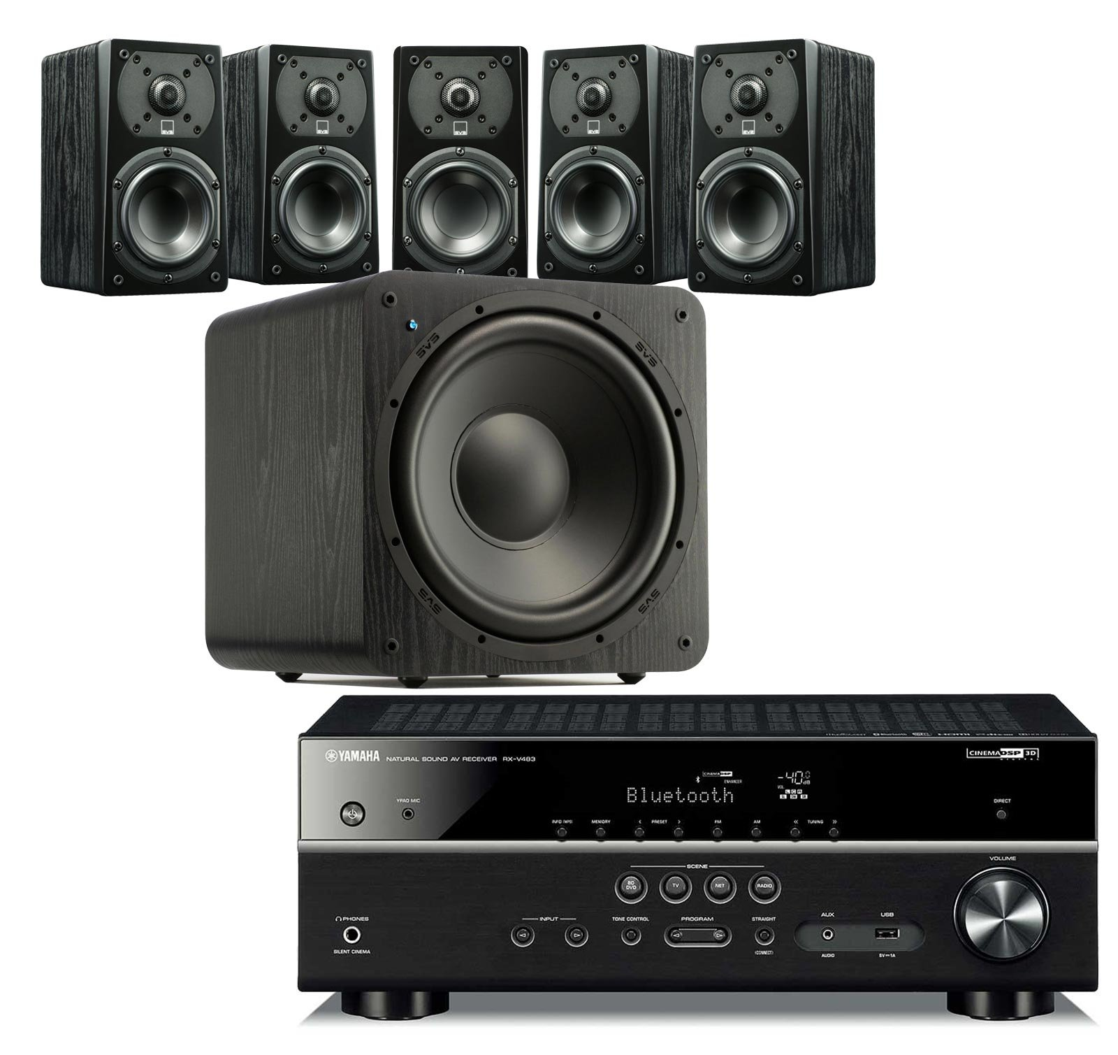 SVS Home Theater Prime Satellite 5.1 Package Featuring 5 Prime Wired Satellite Speakers, SB–1000 Wired Subwoofer (Black Ash), and Yamaha RX-V483BL 5.1-Channel 4K Ultra HD AV Receiver with Bluetooth by SVS