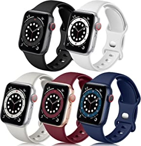 Easuny Compatible with Apple Watch Band 44mm 42mm Women Men - Soft Sport Silicone Wristbands Strap Replacement for iWatch Bands SE Series 6/5/4/3/2/1,5 Pack of Black Gray Dark-Blue Wine White