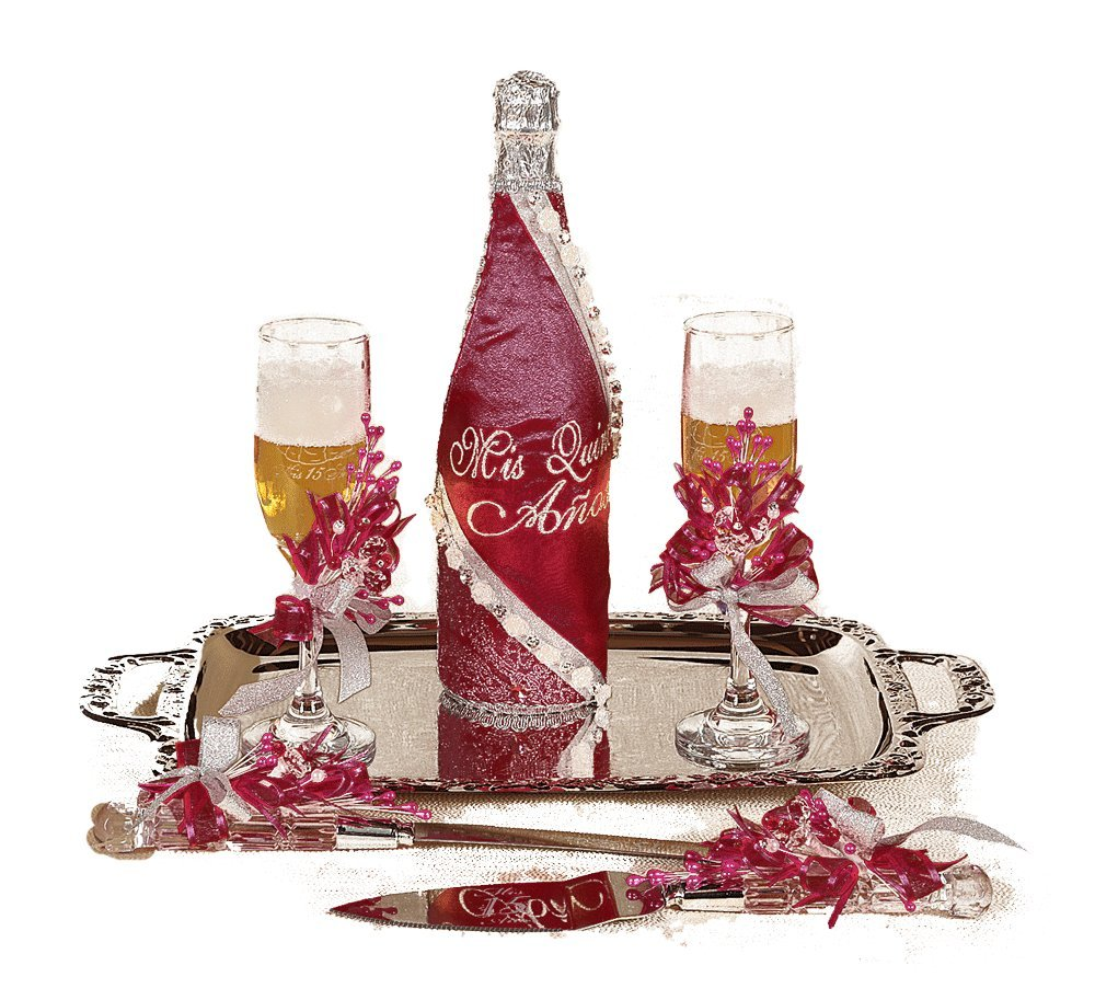 SB096 Quinceañera Brindis. Cake knife and server included. (Burgundy)