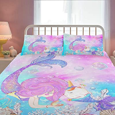 ZOEO Girls Mermaid Twin Bedding Set Pink Blue Unicorn Magic Cat Bed Sheets Sets Cartoon Bedspreads Cute Duvet Cover Set 3 Pieces for Teens: Kitchen & Dining