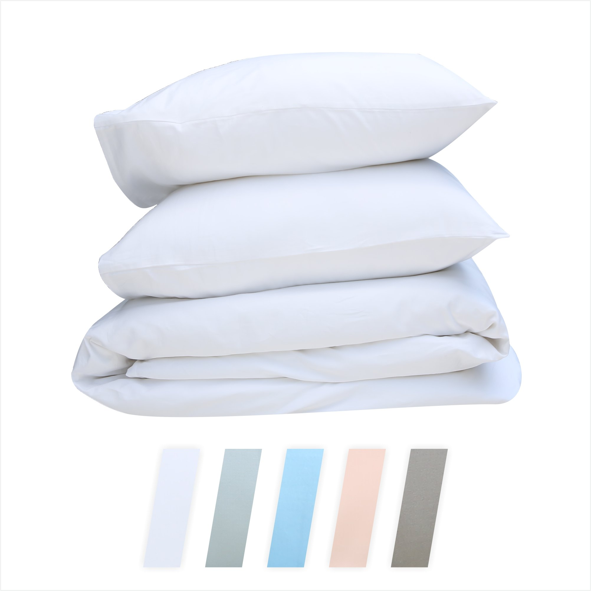 Best Hotel Luxury Bedding 3-Piece King Pure White Duvet Cover Set, 400 TC 100% Long-Staple Combed Cotton Soft, Silky & Breathable Duvet Cover Set, Perfect Cover for your Down Comforter by California Design Den (Image #1)