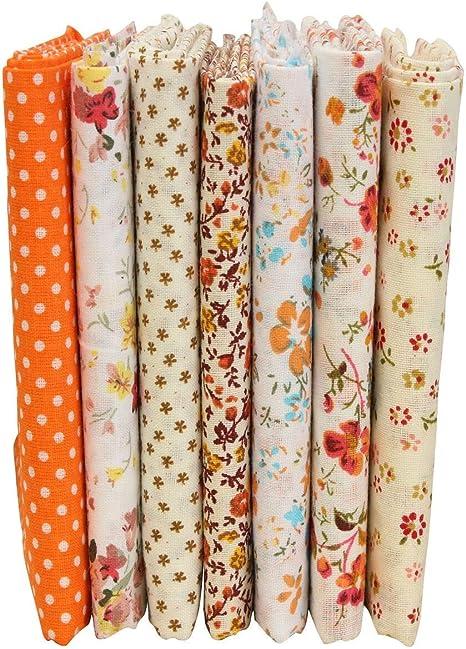 Lote de 7 telas de algodón KING DO WAY, diseños variados, 50 x 50 ...