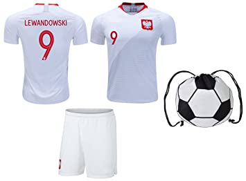 new arrival b7236 9da79 Amazon.com : R.F.A Poland Lewandowski #9 Soccer Jersey Kids ...