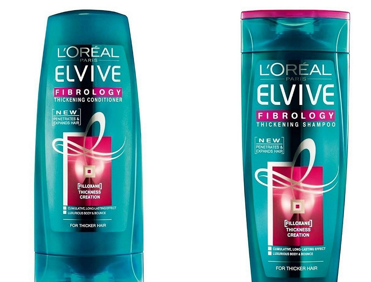 L'Oreal Paris Elvive Fibrology Value Pack 400ml Thickening Shampoo, 400ml Thickening Conditioner Set. Large Bottle Bundle. L' Oreal