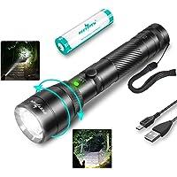 1500 Lumens LED Zoom Flashlight USB Rechargeable Flashlight, IPX6 Waterproof Tactical Flashlight (With 18650 Battery…