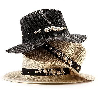 73f322ab34d LADYBRO Straw Fedoras Panama Hat Unisex Pack 3 Sun Hat Summer Beach  Headwear (Pack of
