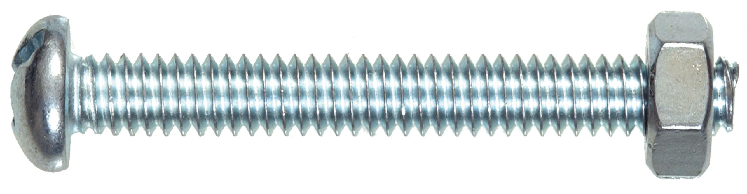 The Hillman Group 7680 Round Head Combo Machine Screw with Nut, 8-32-Inch x 2-Inch, 5-Pack
