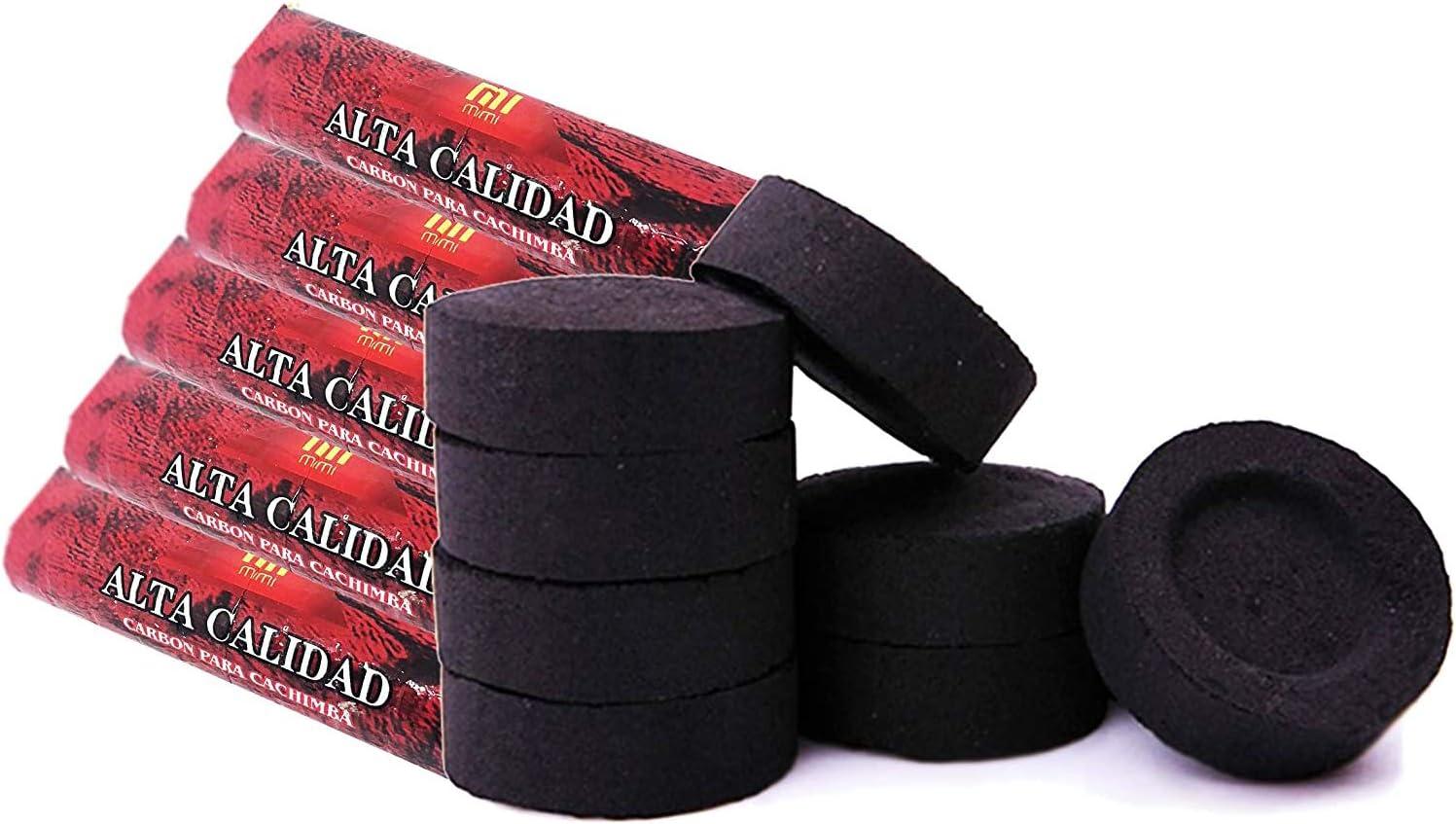 [Pack] 5 rollos de carbón para cachimba, shisha, hookah, narguile e incensario (50 pastillas)