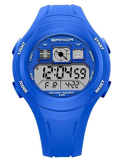 SANDA - Reloj Deportivo Impermeable para Niños Niñas Reloj de Pulsera Digital a Prueba de Agua Infantiles - Azul: Amazon.es: Relojes