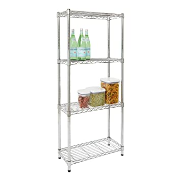 amazon com storables chrome 4 tier steel wire shelving 10 d x 24 rh amazon com narrow wire shelving 11 inch narrow wire shelves for closet