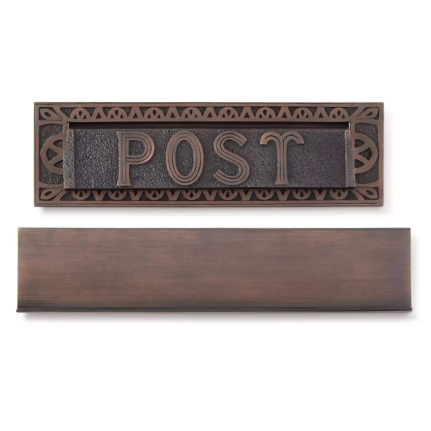 Naiture 13'' Solid Cast Brass Heavy Duty''Post'' Mail Slot Oil Rubbed Bronze Finish