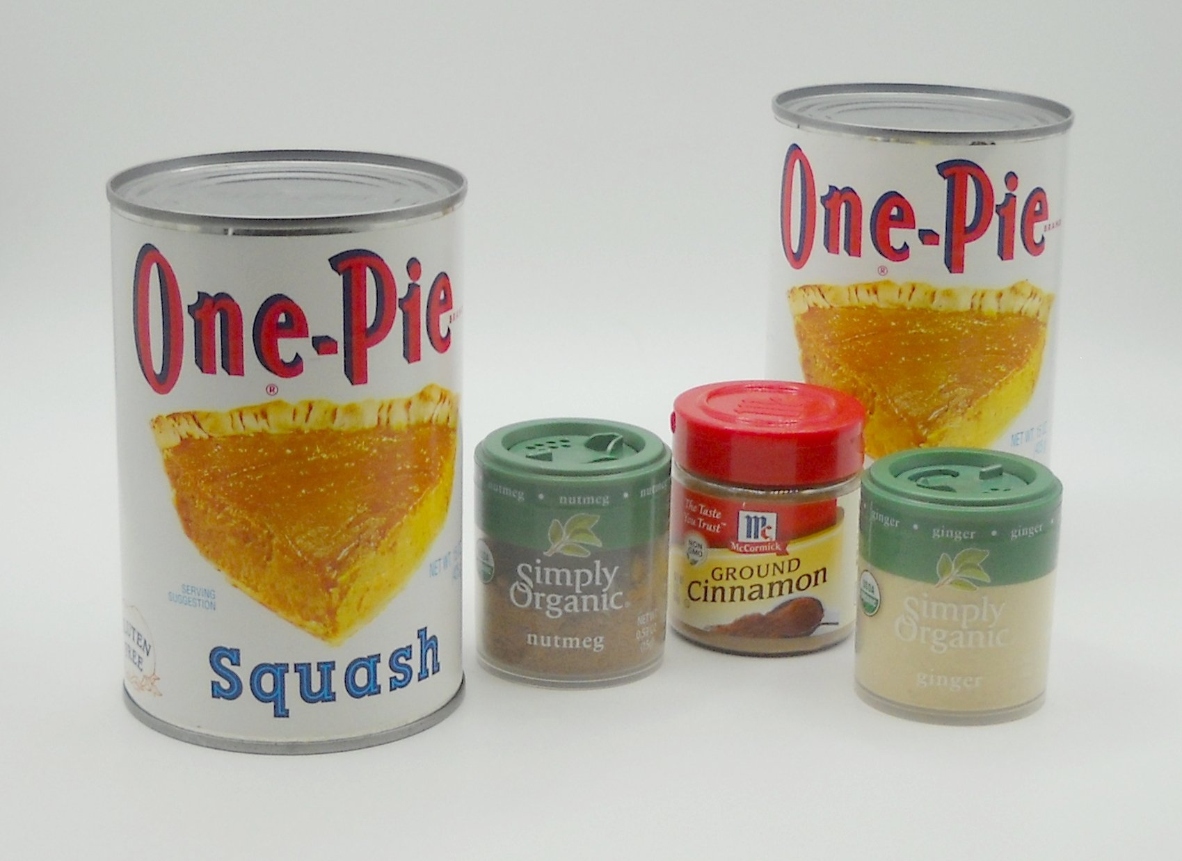 Traditional New England Squash Pie Baking Bundle for 2 pies featuring One-Pie Squash, Simply Organic Nutmeg and Ginger, and McCormick Cinnamon