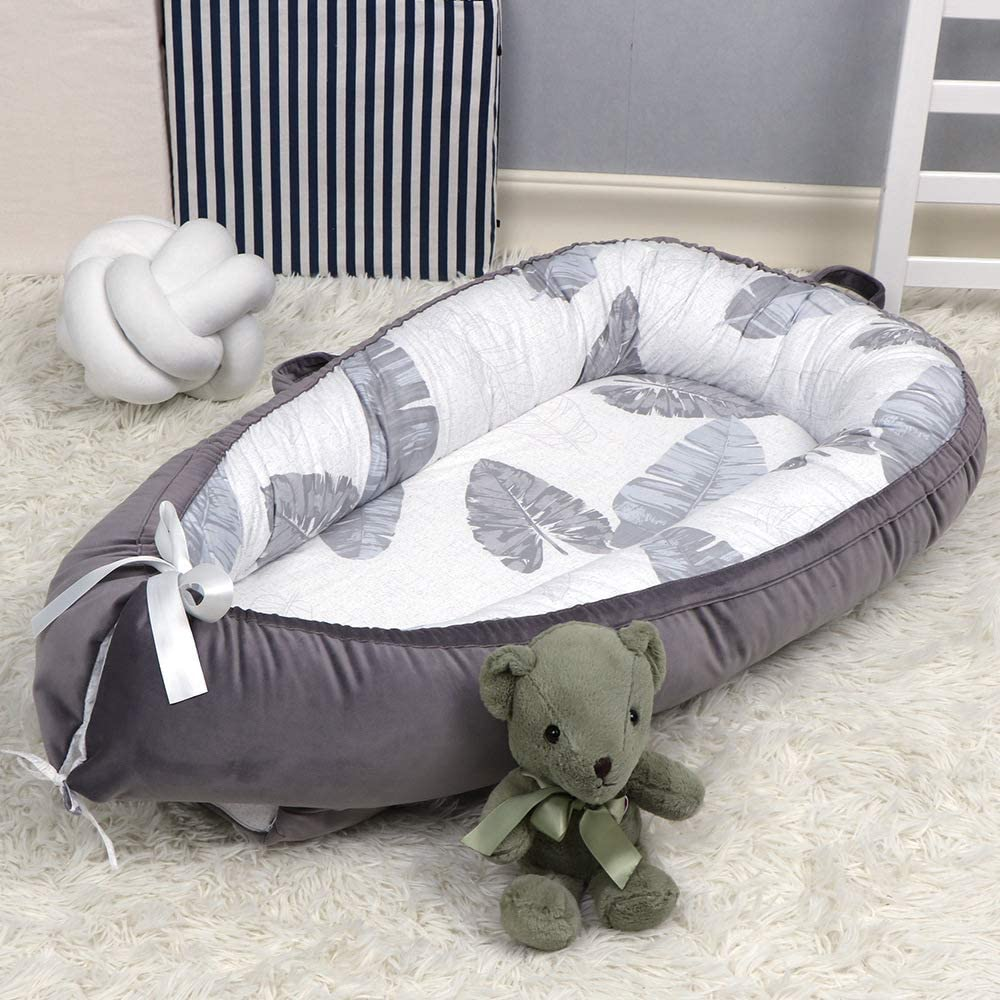 BATTILO HOME Baby Lounger Baby Nest for Bedroom Portable Infant Bassinet Nest for Co-Sleep Removable Cover Baby Bionic Bed 100/% Cotton Leaves