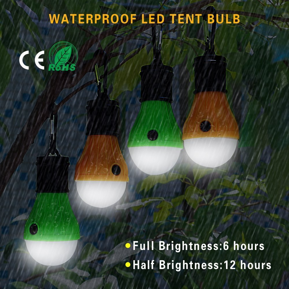 Doukey LED Camping Light 2 Pack or 4 Pack Portable LED Tent Lantern 4 Modes for Backpacking Camping Hiking Fishing Emergency Light Battery Powered Lamp for Outdoor and Indoor