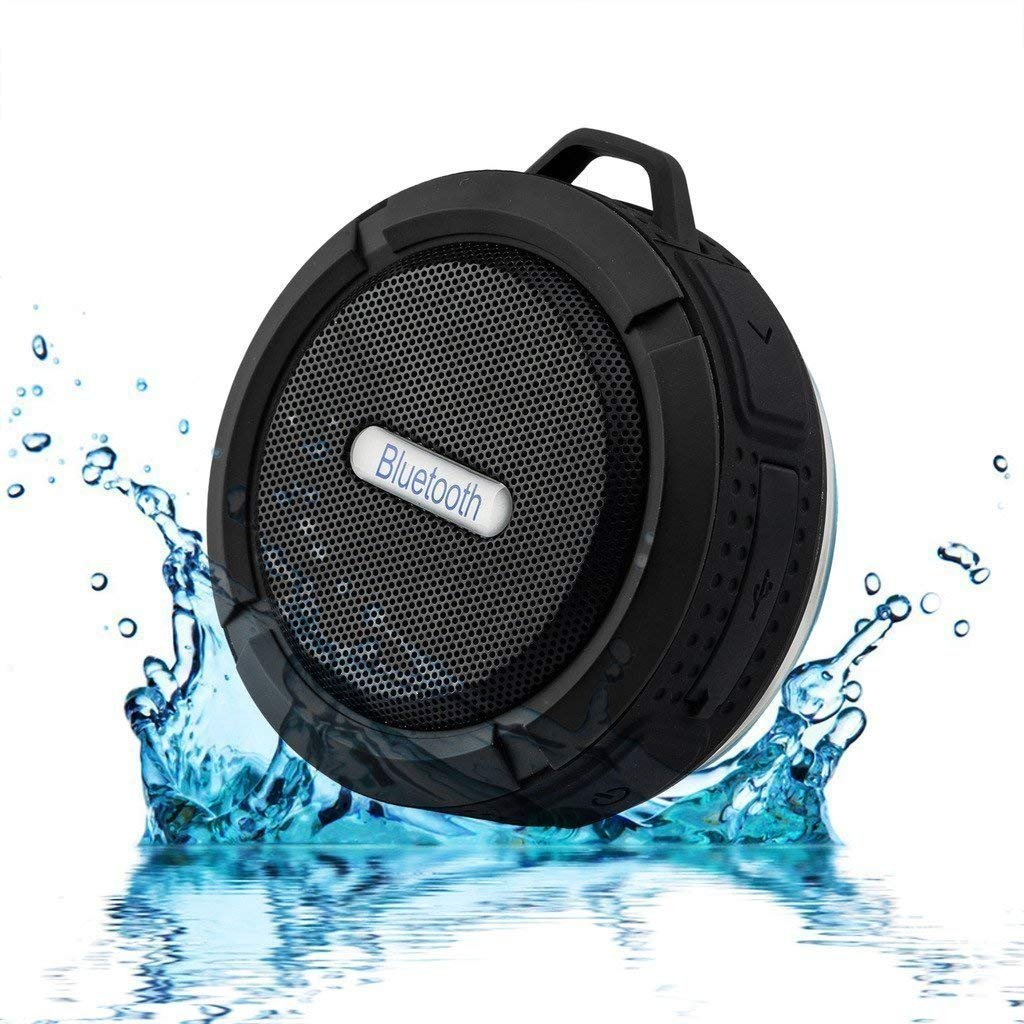 Shower Speaker Hipipooo Waterproof Wireless Portable Bluetooth Speaker Supporting Memory Card C6 Stereo Sound Box for Iphone Ipad Android Smartphone (Black)