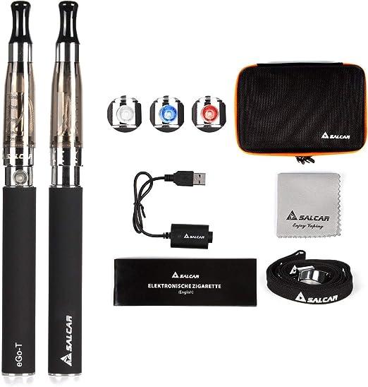 Salcar® Cigarrillo electrónico eGo-T CE4 con doble kit de iniciación, batería recargable de 1100mAh, Vaporizador de 1,6ml, 0,00 mg Nicotina(2x nergo): Amazon.es: Salud y cuidado personal