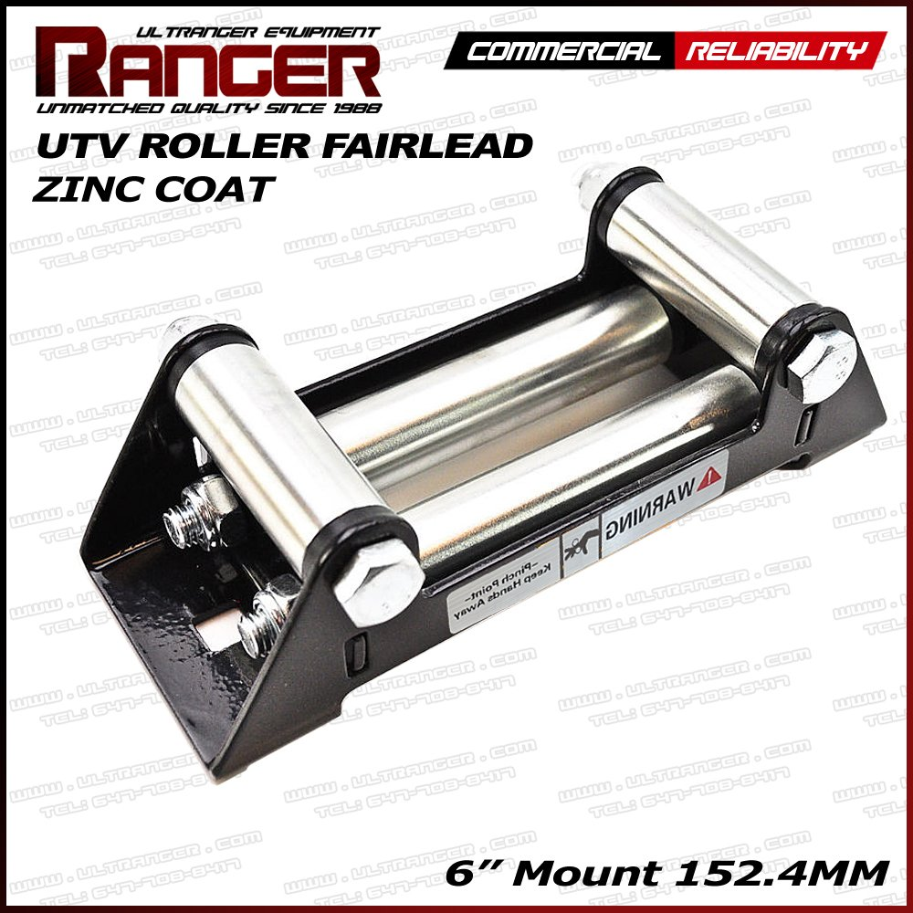 Ranger UTV Side Side Winch Roller Fairlead 6' (152.4MM) Mount 4000-5500 LBs UTV Winch Ultranger RANGER ULTRANGER URF-BLACK