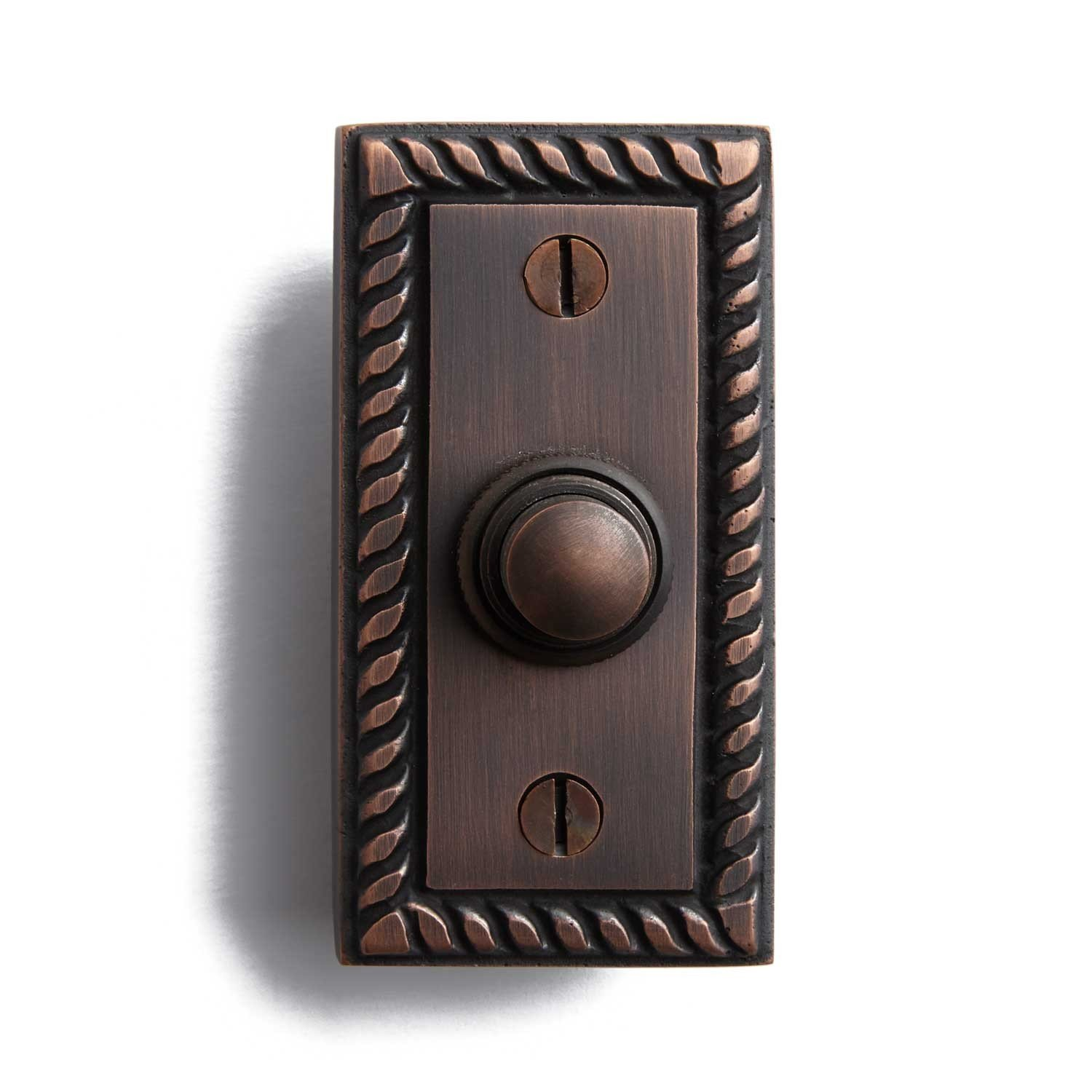 Casa Hardware Solid Brass Rectangular Doorbell with Push Button in Oil Rubbed Bronze Finish by SIGHW