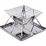 SANNO BBQ Compact Folding Portable Charcoal Barbeque Grill Made from Stainless Steel carry-on BBQ Grill for Camping, Picnics, Backpacking, Backyards, Survival, Emergency Preparation