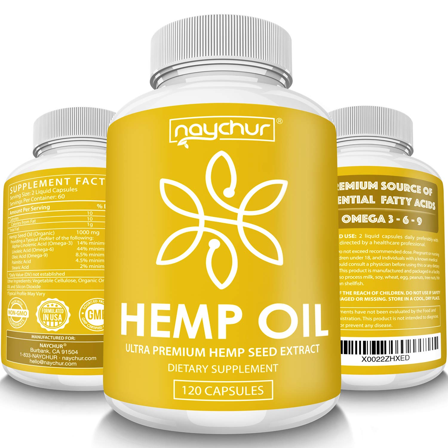 Hemp Oil Capsules - Best Organic Natural Pure Hemp Seeds Extract for Pain Relief Anti Anxiety Anti Inflammatory Stress Sleep Support Raw Herbal Supplements Omega 3 6 9 - Non GMO 120 Capsules by NAYCHUR
