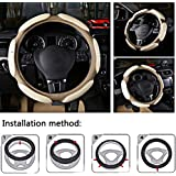 NIKAVI Steering Wheel Cover - Odorless, Warmer Hands in Winter, Cooler Hands in Summer (Beige)