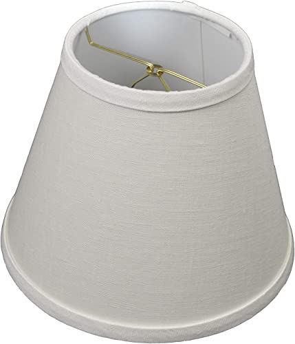 FenchelShades.com Lampshade 5 Top Diameter x 9 Bottom Diameter x 7 Slant Height with Clip-On Attachment for Standard Edison-Style Lightbulb Designer Linen Off White