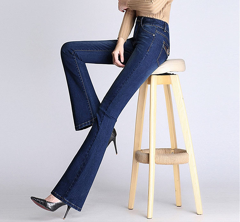 TENGFU Womens High Rise Relaxed Fit Stretch Slim Bell Bottom Denim Wide Leg Jeans