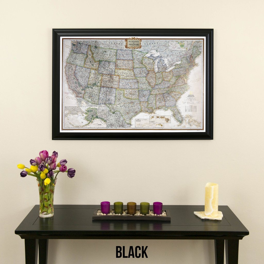 Personalized Executive US Push Pin Travel Map with Black Frame and Pins 24 x 36 by Push Pin Travel Maps (Image #2)