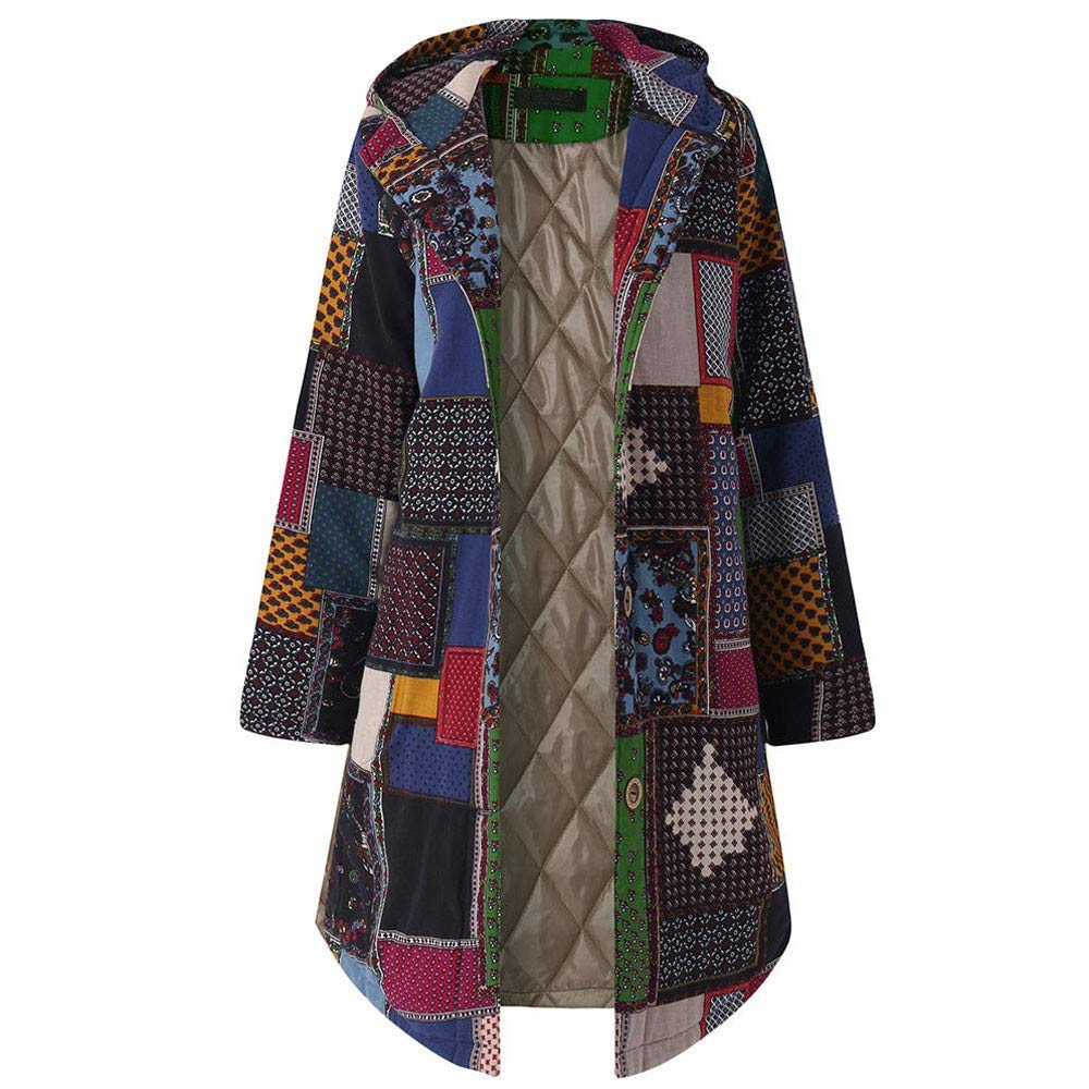 AHUIGOYCE Women's Vintage Floral Print Cotton Fleece Long Jacket Winter Warm Thick Hooded Trench Coat Oversized Outwear Navy by AHUIGOYCE