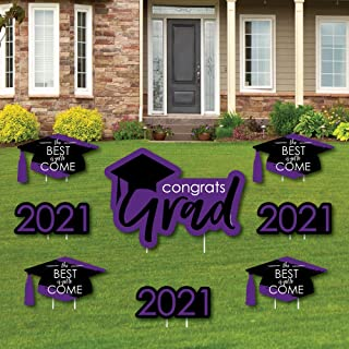 product image for Big Dot of Happiness Purple Grad - Best is Yet to Come - Yard Sign and Outdoor Lawn Decorations - Purple 2021 Graduation Party Yard Signs - Set of 8