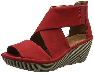Flat, Sandales Compensées Femme, Rouge (Nubuk Red), 37 EUShoe Biz