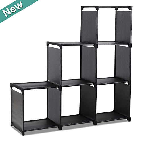 Cube Storage Rack 6-Cube Closet Organizer Shelves Storage Cubes Organizer, DIY Storage Shelf, Bookcase Bookshelf Clothes Cabinets for Living Room Bedroom Office Black-6