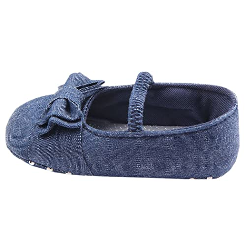 Luck Bebés Ninas Infanta Lona Lazo Color Sólido Calzado Zapatillas Zapato Infantil Alpargatas Dril Azul (