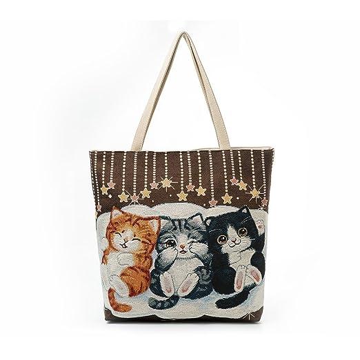ed87c1ce94e Amazon.com  Cotton Canvas Cute Cartoon Cat Embroidered Tote Bag ...
