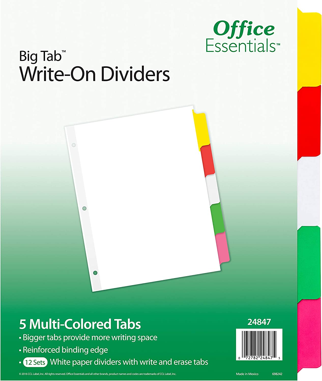 Office Essentials Big Tab Write-On Dividers, 8-1/2 x 11, 5 Tab, Multicolor Tab, 12 Sets (24847)