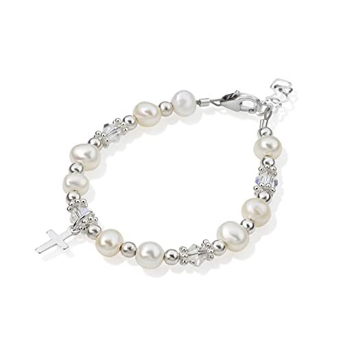 48fa506d6c70b Christening Clear Swarovski Crystal with Cultured Fresh Water Pearls and  Sterling Silver Cross Charm Luxury Child Unisex Bracelet (BFWCC)
