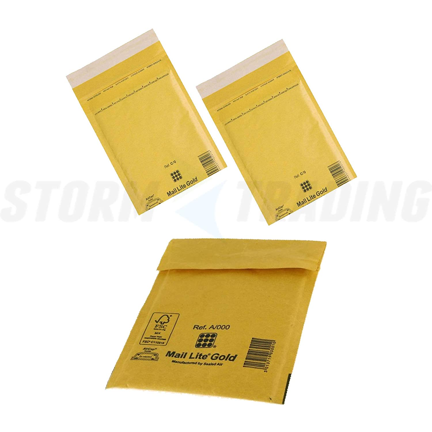 200 x Gold Mail Lite Padded Bubble Lined High Quality A/000 110x160mm Envelopes