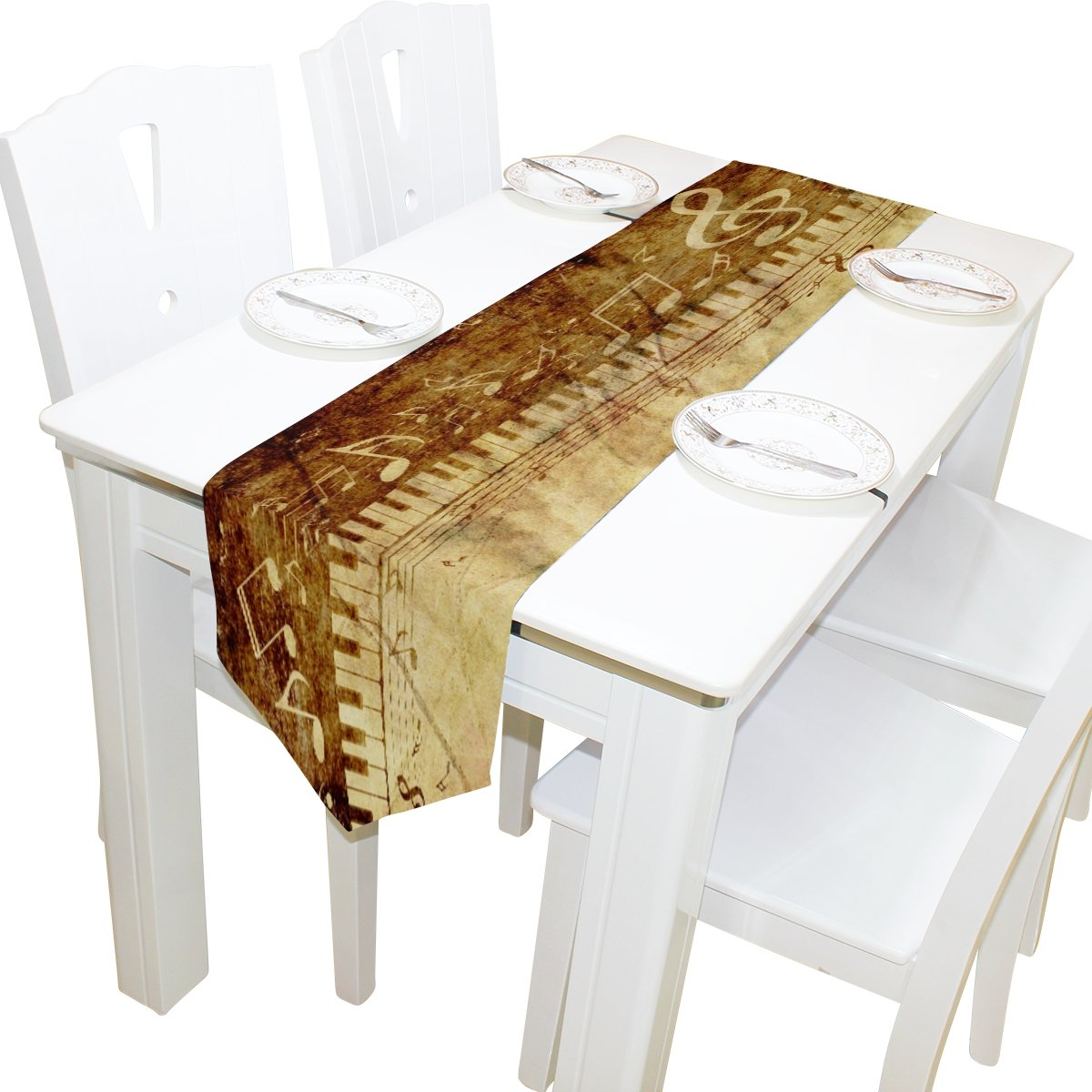 yochoiceテーブルランナーホーム装飾、ヴィンテージGunge音楽ピアノNOTEテーブルクロスランナーコーヒーマットforウェディングパーティー宴会装飾13 x 70インチ 13x70 ホワイト 13x70  B07514D9PW