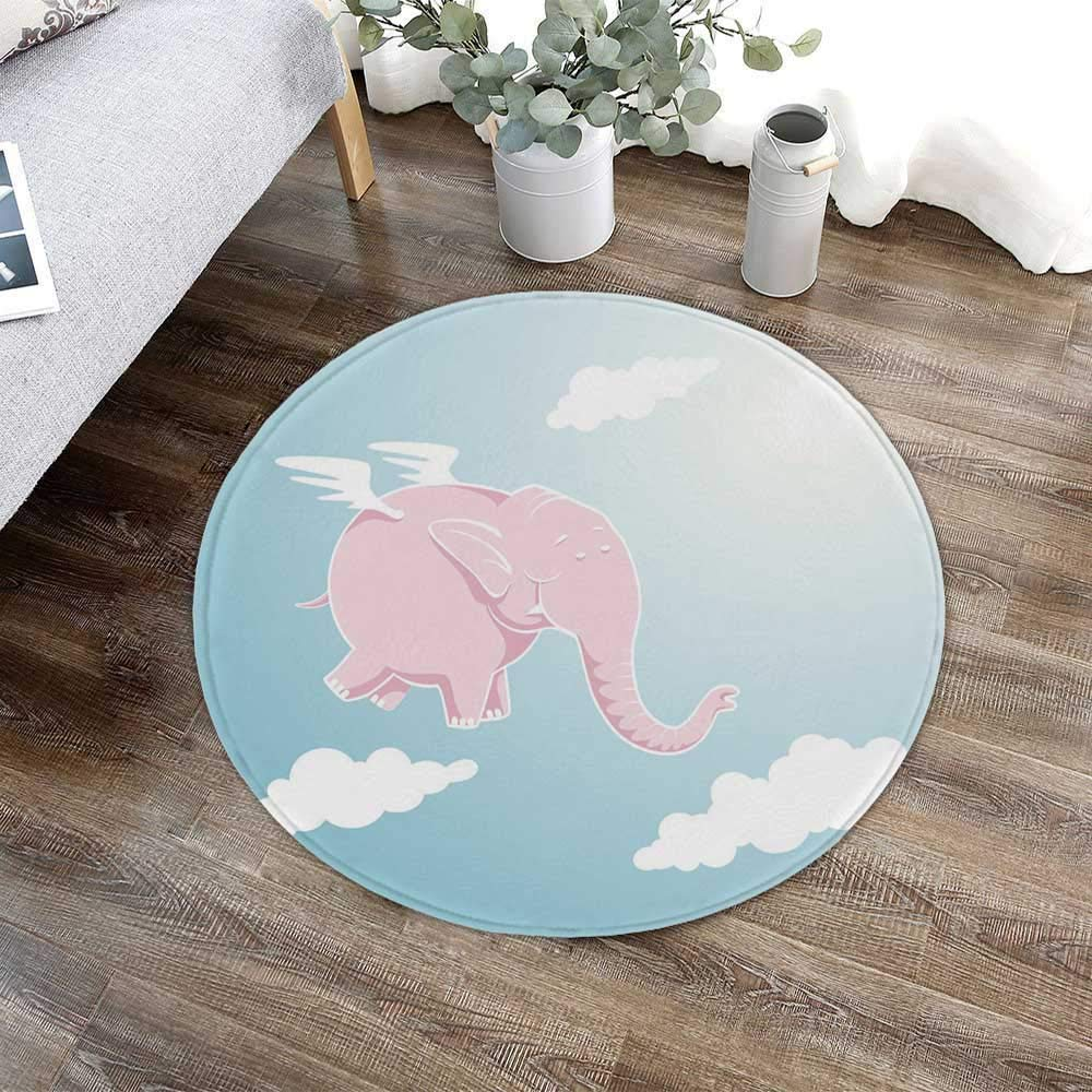 TecBillion Nursery Modern Round Carpet,Pink Elephant Flying Through The Sky Happiness Freedom and Fantasy for Living Room Bathroom,23.62'' W x 23.62'' H