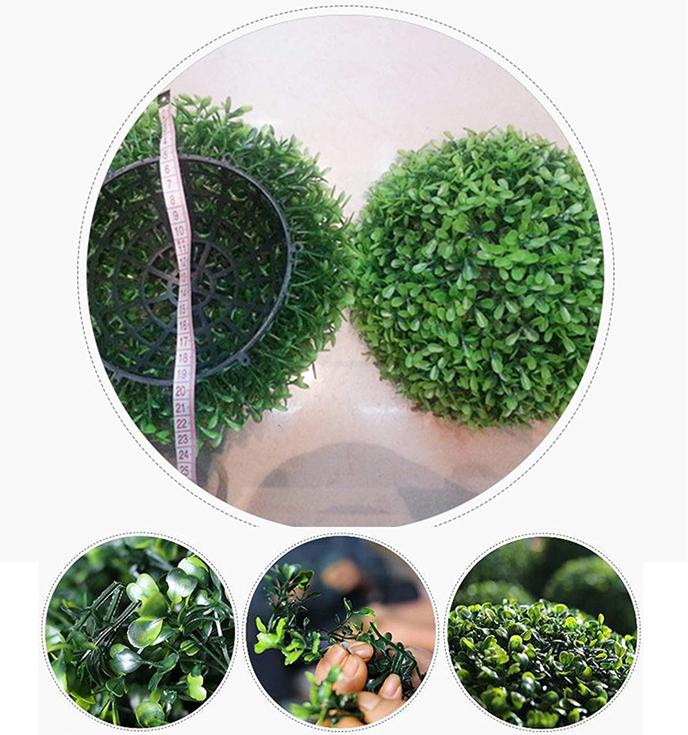LAHappy Artificial Plants Grass Ball Hanging Simulation Peanut Grass Ball Outdoor And Indoor Topiary Ball Leaf Effect Ball UV Protected Green Boxwood Buxus Grass Topiary Hanging Balls,20cm