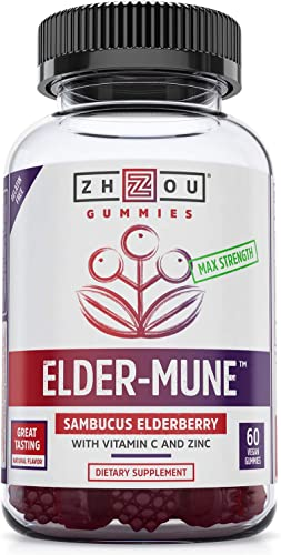 Elder-Mune Sambucus Elderberry Gummies – Antioxidant Flavonoids, Immune Support Gummy Vitamins, Zinc Supplement Vitamin C Supplement