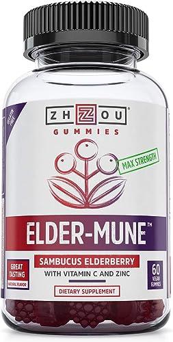 Elder-Mune Sambucus Elderberry Gummies - Antioxidant Flavonoids, Immune Support Gummy Vitamins, Zinc Supplement Vitamin C Supplement