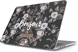 Glitbit Hard Case Cover Compatible with MacBook Air 13 inch Case Release 2018-2019 Model: A1932 / A2179 with Retina Display and Touch ID Bonjour Paris Eiffel Tower Floral France Love Roses Flower