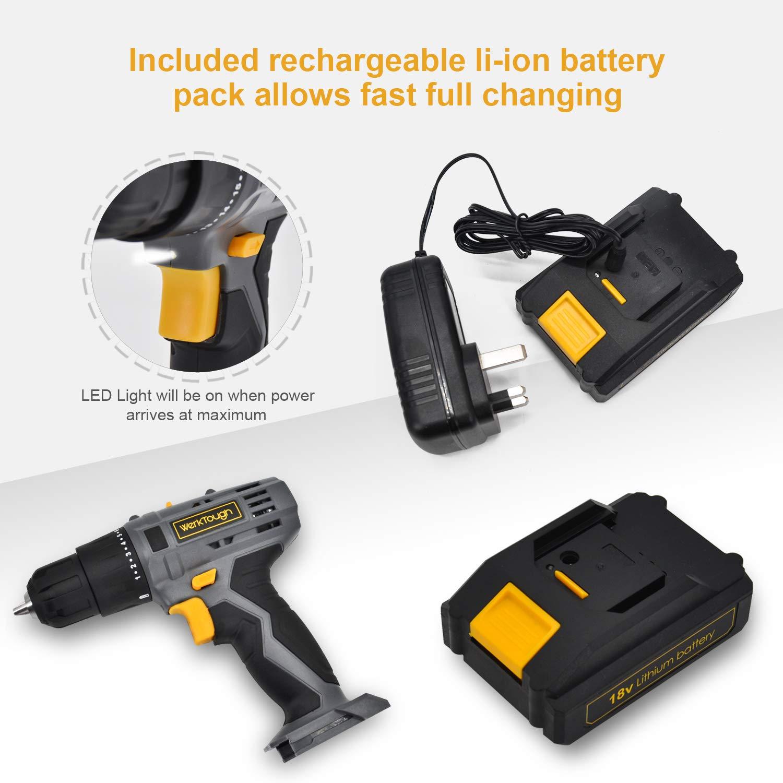 Werktough D018 18V Cordless Drill Driver 2 viable Speed Powerful Screwdriver Lion Battery