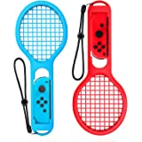 Tennis Racket for Nintendo Switch Joy-Con Controller, Accessories Grips for Nintendo Switch Somatosensory Games Mario Tennis Aces - Twin Pack (Blue and Red)