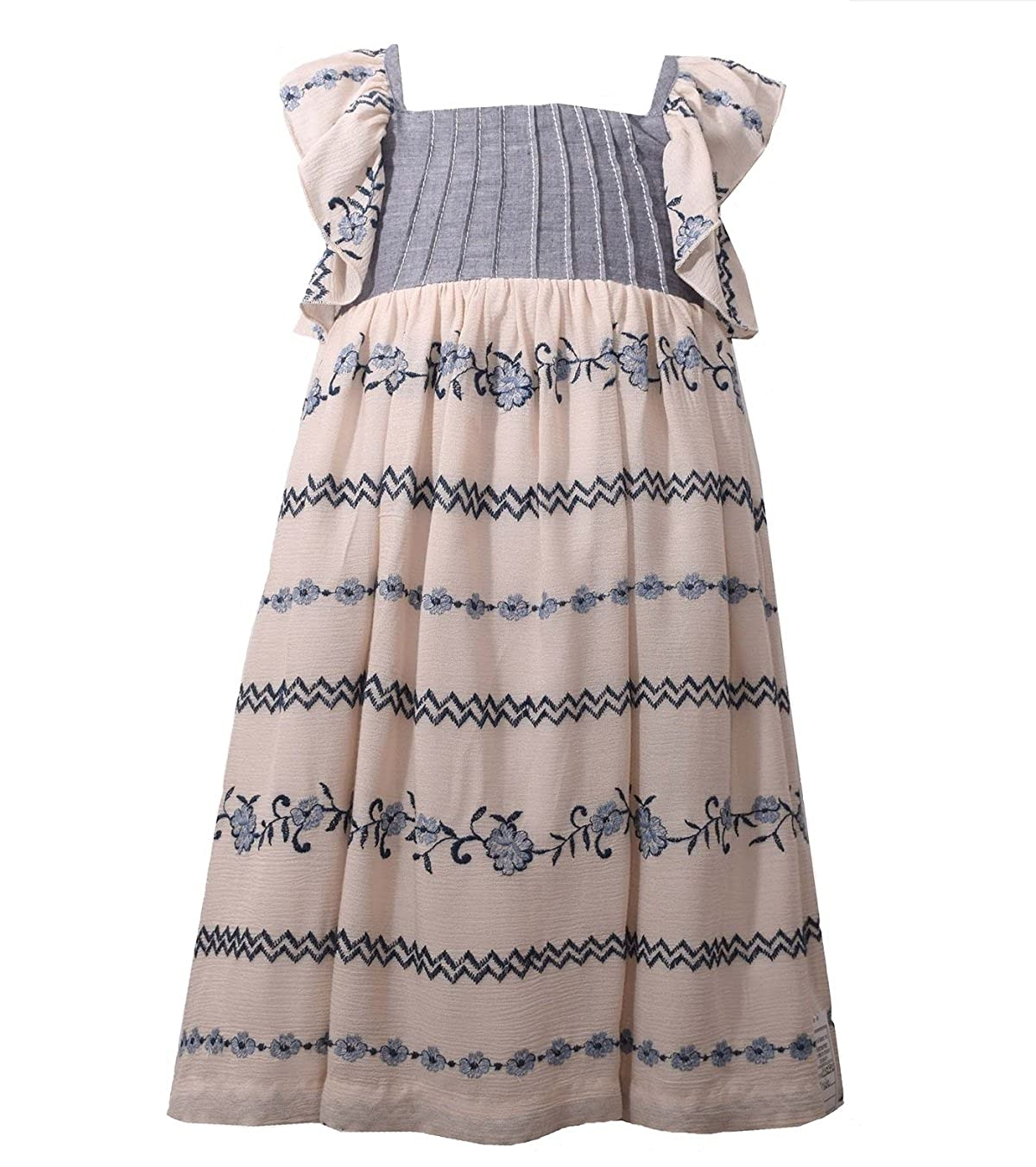 1d2b2365b32a Amazon.com  Bonnie Jean Girls Embroidered Chambray Summer Dress (2t-6x)   Clothing